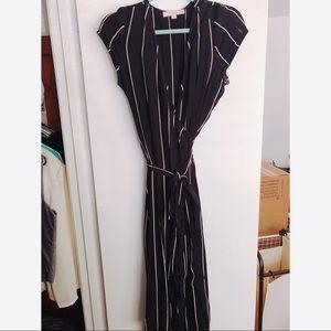 Black and Pink Striped LOFT Maxi Wrap Dress
